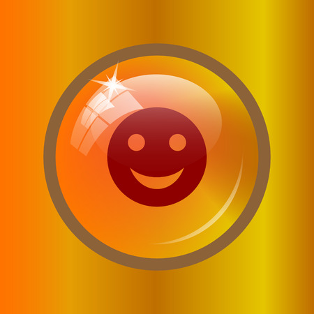 Smiley icon. Internet button on colored background. Stock Photo