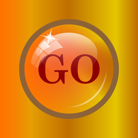 GO icon. Internet button on colored background. Stock Photo