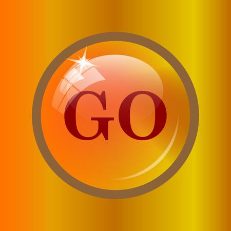 go button: GO icon. Internet button on colored background. Stock Photo