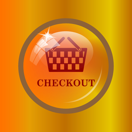 checkout: Checkout icon. Internet button on colored background.