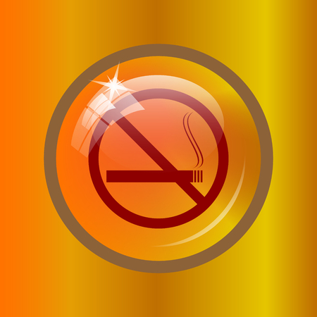 No smoking icon. Internet button on colored background.