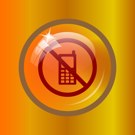 Mobile phone restricted icon. Internet button on colored background.