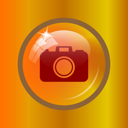 Photo camera icon. Internet button on colored background.