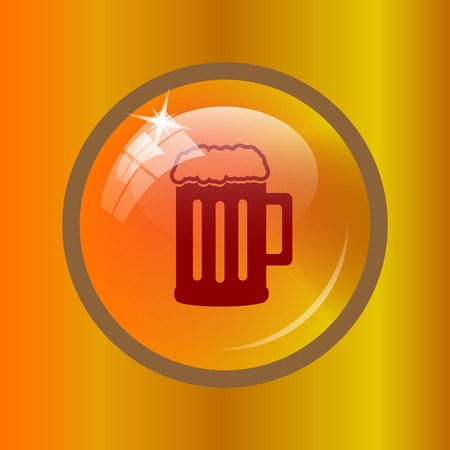 Beer icon. Internet button on colored background.