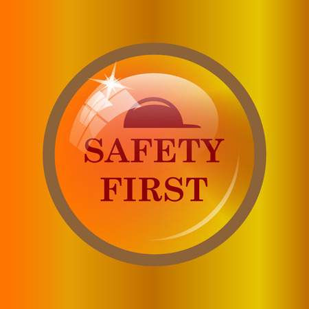 cautionary: Safety first icon. Internet button on colored background.