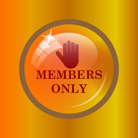 closed club: Members only icon. Internet button on colored background.