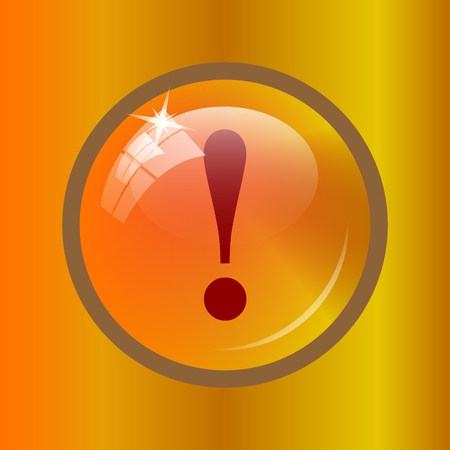 attention icon: Attention icon. Internet button on colored background.