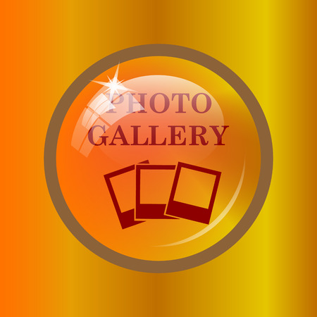 Photo gallery icon. Internet button on colored background. Stock Photo