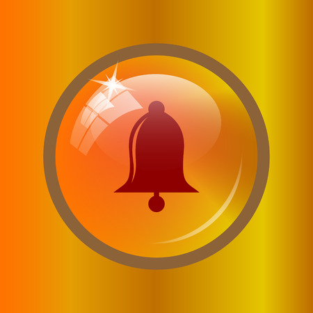 Bell icon. Internet button on colored background. Stock Photo