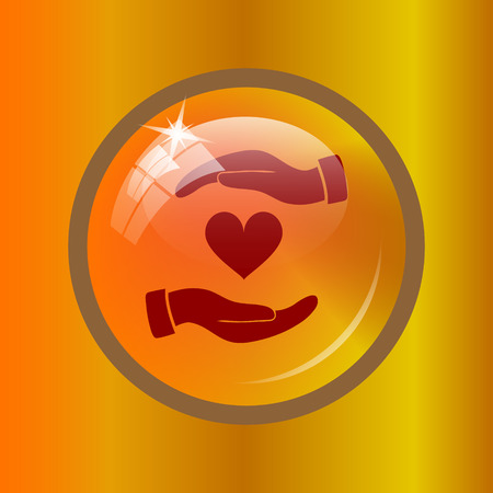 hands holding heart: Hands holding heart icon. Internet button on colored background. Stock Photo
