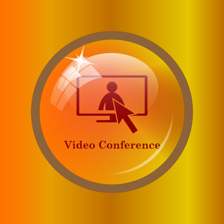 human resource affairs: Video conference, online meeting icon. Internet button on colored background. Stock Photo