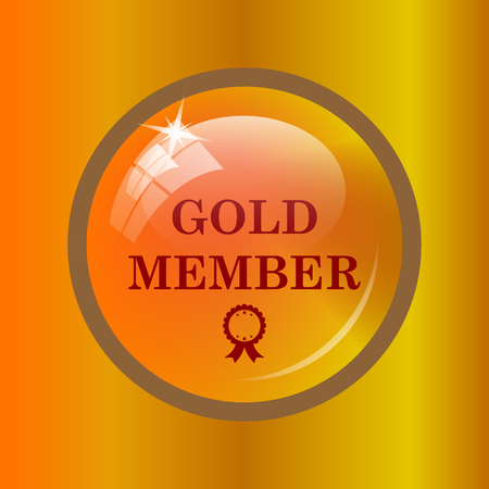 privilege: Gold member icon. Internet button on colored background. Stock Photo