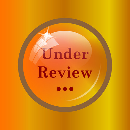 canceled: Under review icon. Internet button on colored background. Stock Photo