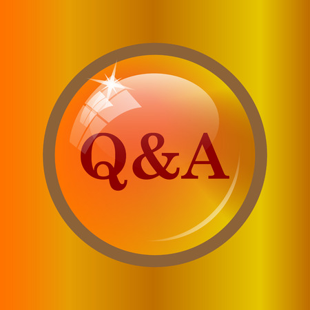 Q&A icon. Internet button on colored background. Stock Photo