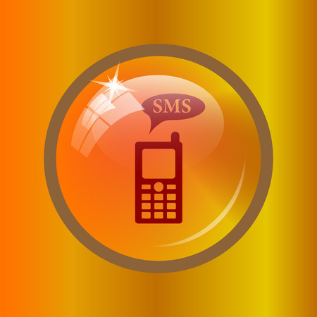 gsm phone: SMS icon. Internet button on colored background.