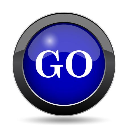 go button: GO icon. Internet button on white background. Stock Photo