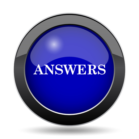 answers: Answers icon. Internet button on white background.