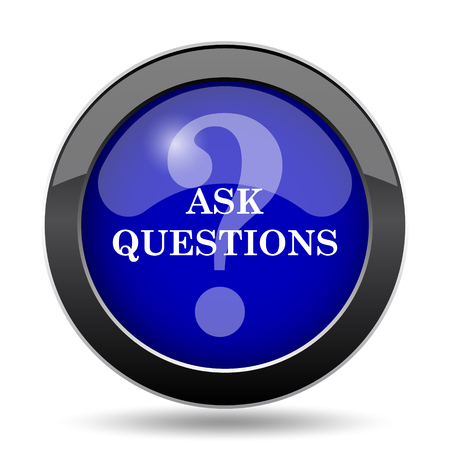 inquiry: Ask questions icon. Internet button on white background.