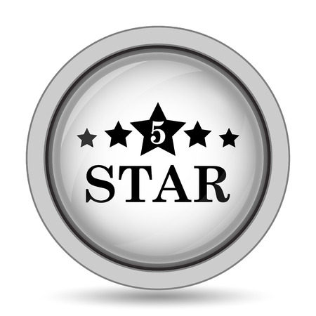 emboss: 5 star icon. Internet button on white background.