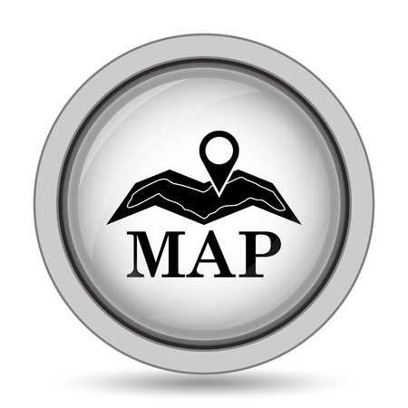 Map icon. Internet button on white background. Stock Photo