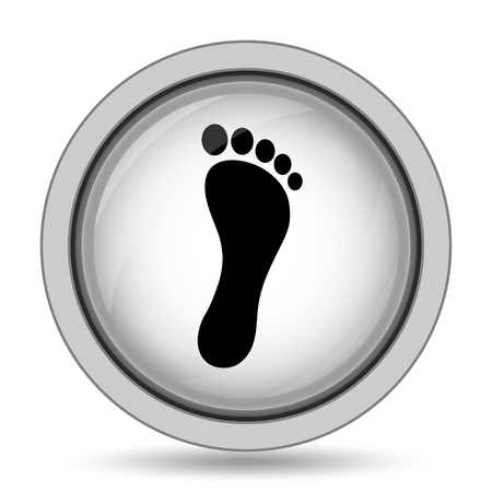 toes: Foot print icon. Internet button on white background.