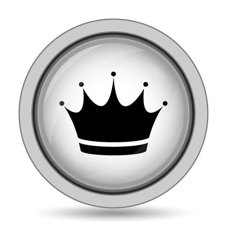 autoridad: icono de la corona. botón de internet sobre fondo blanco. Foto de archivo