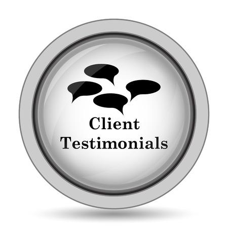 authenticate: Client testimonials icon. Internet button on white background.