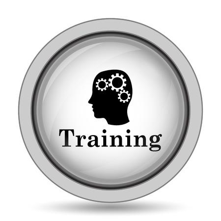 course development: Training icon. Internet button on white background. Stock Photo
