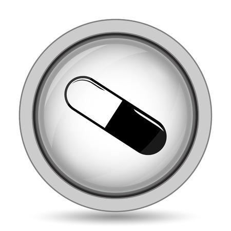 dosage: Pill icon. Internet button on white background.