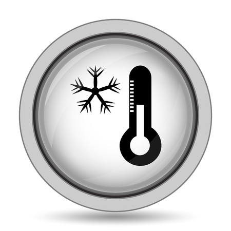 sopel lodu: Snowflake with thermometer icon. Internet button on white background.