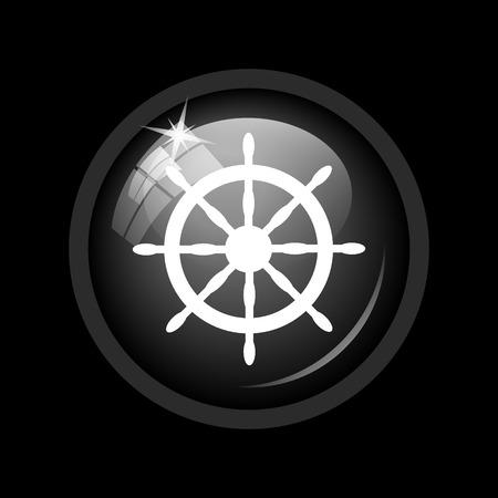dockyard: Nautical wheel icon. Internet button on black background.