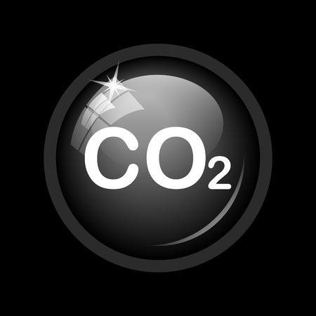 co2 emissions: CO2 icon. Internet button on black background.