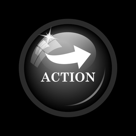 activism: Action icon. Internet button on black background.