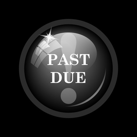 past due: Past due icon. Internet button on black background.