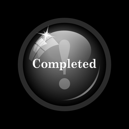 completed: Completed icon. Internet button on black background.