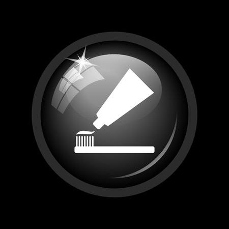 tooth paste: Tooth paste and brush icon. Internet button on black background.