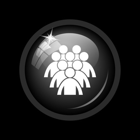 black people: Group of people icon. Internet button on black background.