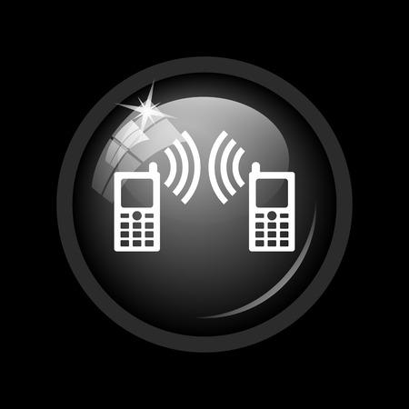 palmtop: Communication icon. Internet button on black background.