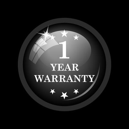 1 year warranty: 1 year warranty icon. Internet button on black background.