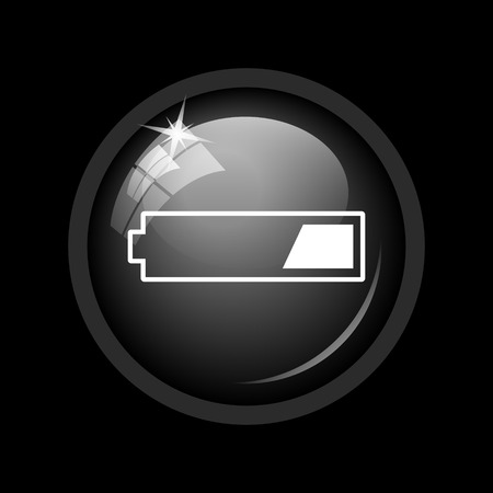 1 third charged battery icon. Internet button on black background. Stock Photo