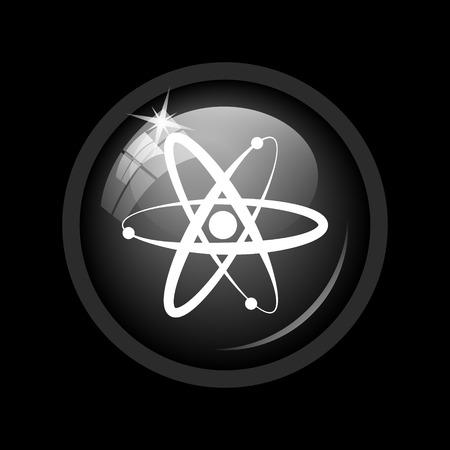gamma radiation: Atoms icon. Internet button on black background.