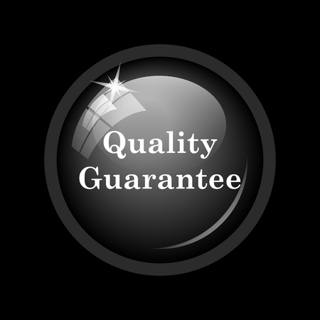 guarantee icon: Quality guarantee icon. Internet button on black background.