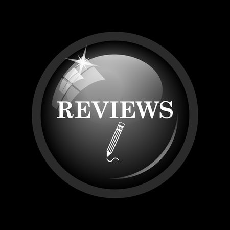 reviews: Reviews icon. Internet button on black background. Stock Photo