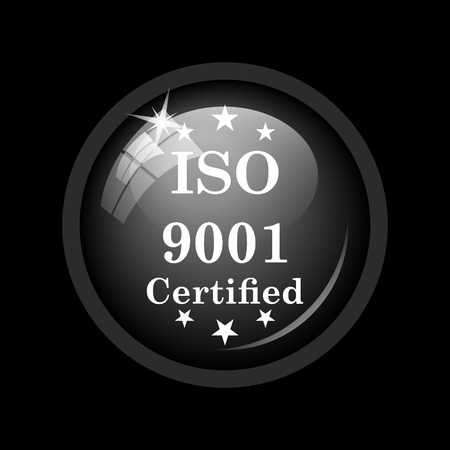 ISO9001 icon. Internet button on black background.