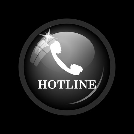 hotline: Hotline icon. Internet button on black background.