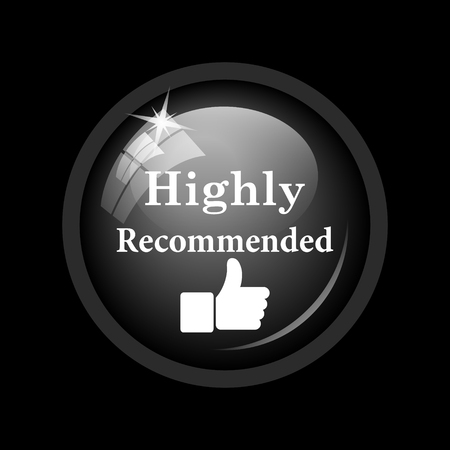 recommendations: Highly recommended icon. Internet button on black background.