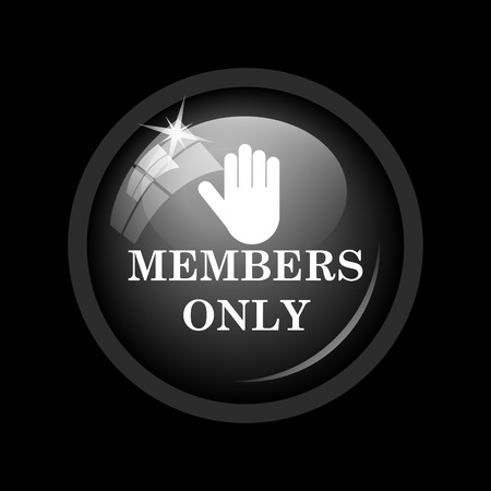 restricted access: Members only icon. Internet button on black background. Stock Photo