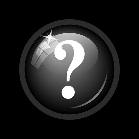 inquiry: Question mark icon. Internet button on black background. Stock Photo