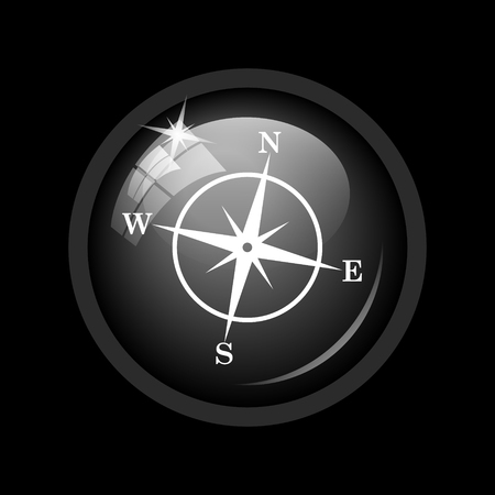 geodesy: Compass icon. Internet button on black background.