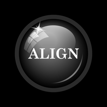 aligned: Align icon. Internet button on black background.